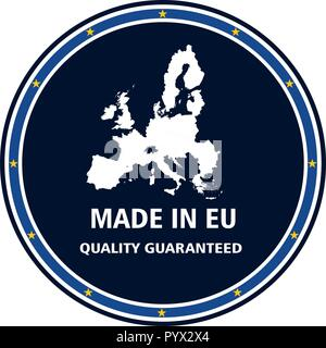 Made in EU quality stamp. Vector illustration - Stock Photo