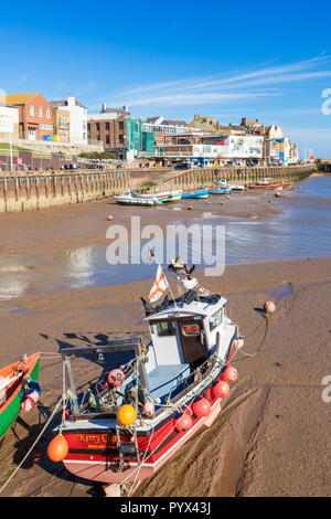 Bridlington marina and Bridlington Harbour Fishing boats at low tide in the harbour Bridlington East Riding of Yorkshire England UK GB Europe - Stock Photo