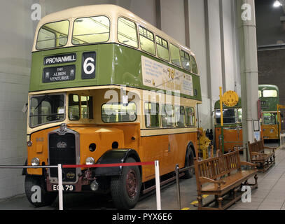 One of the old Albion Venturer passenger buses that used to run on the streets and roads of Glasgow. It is now in the Riverside Transport museum in Glasgow. - Stock Photo