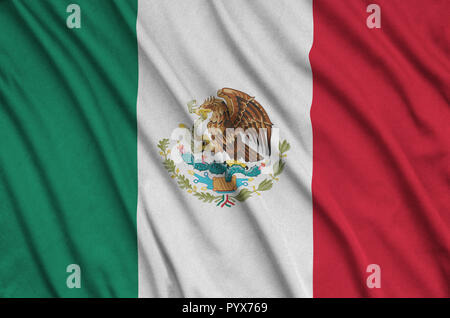 Mexico flag  is depicted on a sports cloth fabric with many folds. Sport team waving banner - Stock Photo