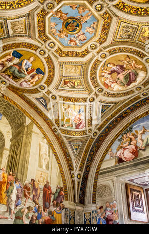 Vatican, Rome, Italy - 09/25/18: painting (fresco) ceilings in the Vatican Museum - Stock Photo