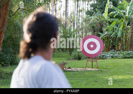 A male sport archer shooting an arrow with a bow at a red wooden target - Stock Photo