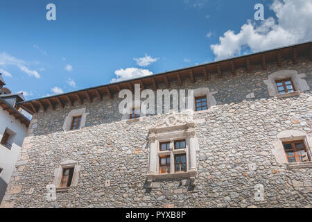 bielsa, spain - August 21, 2018: architectural detail of the town hall in the city center on a summer day - Stock Photo