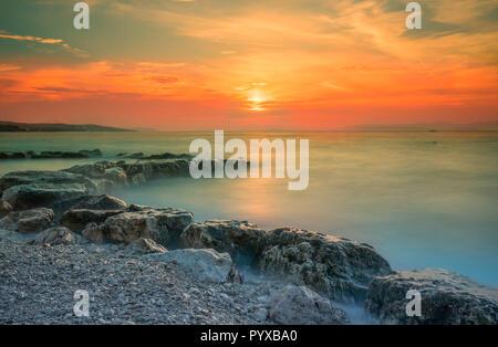 Stunning sunset on Brac island, Croatia, Europe. - Stock Photo