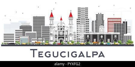 Tegucigalpa Honduras City Skyline with Color Buildings Isolated on White. Vector Illustration. - Stock Photo