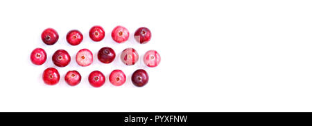 Arranged red ripe cranberries isolated on white. Macro view ripe forest berries, cut out background, copy space. - Stock Photo