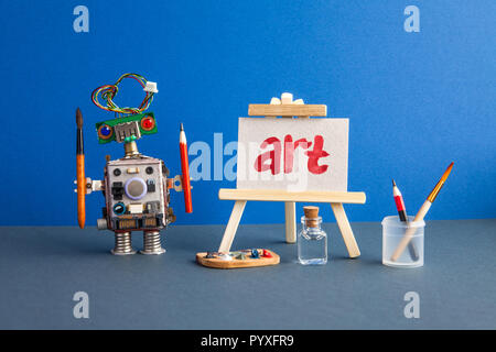 Art and robotic artificial intelligence concept. Robot artist, wooden easel and the handwritten word Art painted red watercolor. - Stock Photo