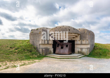 World War 2 German Defense battery in Longues sur Mer Normandy France - Stock Photo