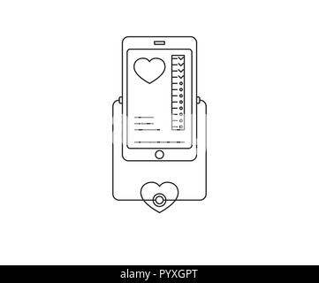 Vector illustration in linear flat style.Online and tele medicine.Mobile phone with app for healthcare . - Stock Photo