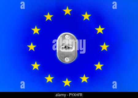 Metal door lock on EU flag background - Stock Photo