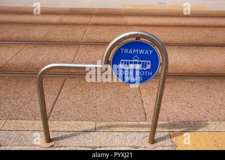 Tramway sign on promenade in Blackpool Lancashire UK - Stock Photo