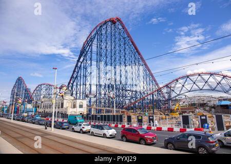 Rollercoaster on the Pleasure beach in Blackpool Lancashire UK - Stock Photo