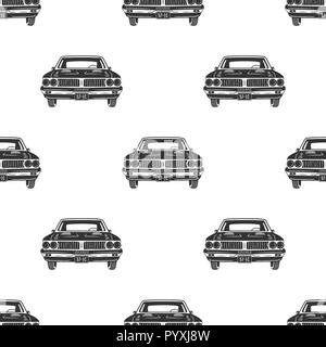 Retro auto seamless. Vintage car pattern background. Automotive theme wallpaper in silhouette style. Stock illustration isolated