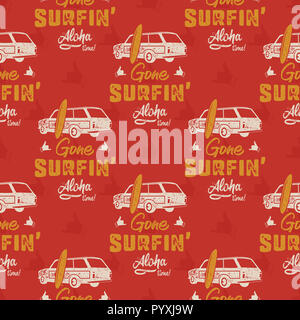 Surfing car pattern. Vintage hand drawn surf wagon with surfboard pattern. Aloha time quote typography. Stock wallpaper background Isolated on red background