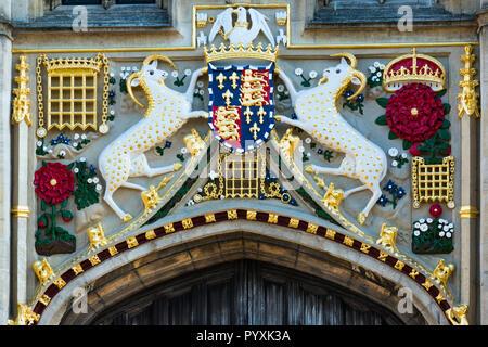 Christ's College's 16th century great gate restored with vibrant colours. Cambridge University. Cambridge. UK - Stock Photo