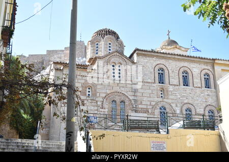 Orthodox Church and view towards the Acropolis in Athens - Stock Photo