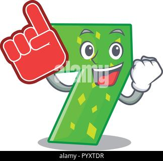 Foam finger number seven isolated on the mascot - Stock Photo
