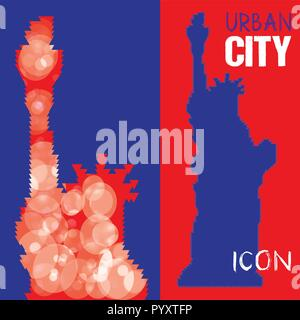 Abstract Triangulated Silhouette of Statue of Liberty with blue squares background. United States famous travel landmark. Colorful polygonal monument  - Stock Photo