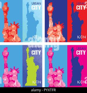 Set of Four Abstract Silhouettes of Statue of Liberty Triangulated. Triangled background. United States famous travel landmark. Colorful polygonal mon - Stock Photo