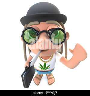 3d render of a funny cartoon hippy stoner character wearing a bowler hat and carrying a briefcase - Stock Photo