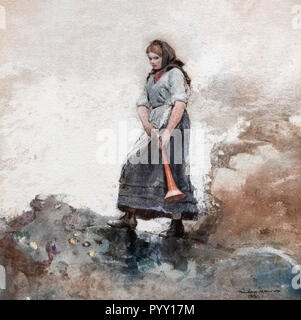 The Coastguard's Daughter by Winslow Homer (1836-1910), watercolor on paper, 1881 - Stock Photo