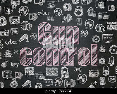 Safety concept: Gun Control on School board background - Stock Photo