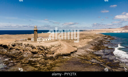Reserve Jandia lighthouse from above drone - Stock Photo