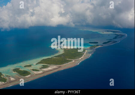 Aerial of the blue lagoon in Rangiroa, Tuamotu-Archipel, French Polynesia - Stock Photo