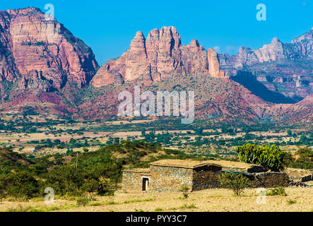 Big African Rift Valley, northern foothills with the Gheralta mountain range over the Hawzien plain, Tigray, Ethiopia - Stock Photo