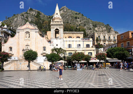 The Church of San Giuseppe in Piazza IX Aprile, Old Town of Taormina, Sicily, Italy - Stock Photo