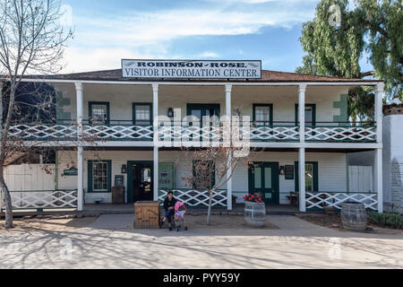 Robinson-Rose House, the information centre in San Diego's Old Town. Originally built by James W Robinson in 1857, then bought by Louis Rose in 1868.  - Stock Photo
