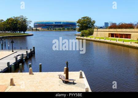 View from Claisebrook Cove across the Swan River to Optus Stadium, Perth, Western Australia - Stock Photo