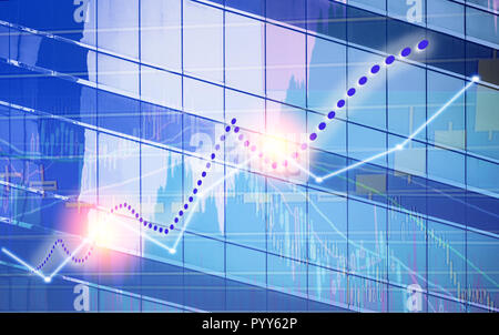 Stock market chart shown in financial building, business background. (blue bull chart) - Stock Photo