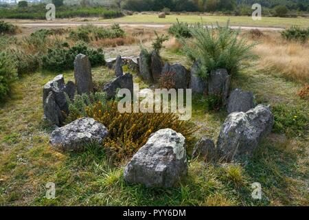 Landes de Cojoux, Saint-Just, Brittany, France. The restored prehistoric barrow passage grave dolmen of Croix Saint Pierre south - Stock Photo