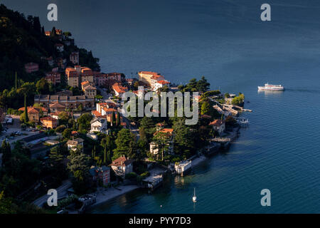 Ferry approaching the harbour at Varenna on Lake Como, Italy