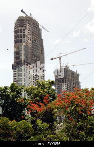 Imperial Twin Towers building under construction, Mumbai, Maharashtra, India, Asia - Stock Photo