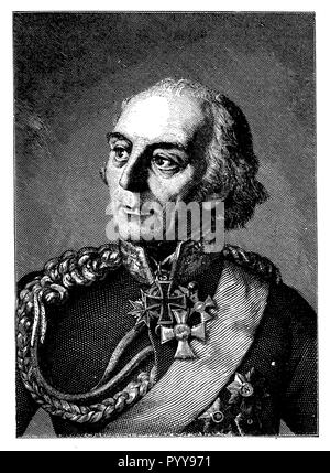 Yorck von Wartenburg, Ludwig (1759-1830), Prussian Field Marshal, painted by W. Woltze, engraved by L Jacoby, W. Woltze  1899 - Stock Photo