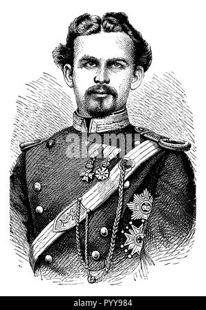 Ludwig II, King of Bavaria (1845 - 1886), the 'fairytale king'. Wood engraving after a photograph,   1899 - Stock Photo