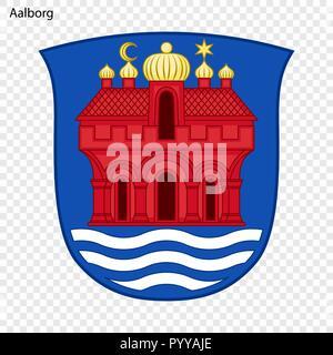 Emblem of Aalborg. City of Denmark. Vector illustration - Stock Photo
