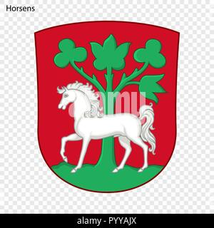 Emblem of Horsens. City of Denmark. Vector illustration - Stock Photo