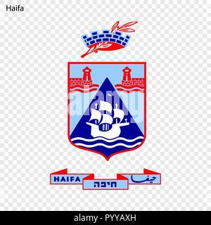 Emblem of Haifa. City of Israel. Vector illustration - Stock Photo