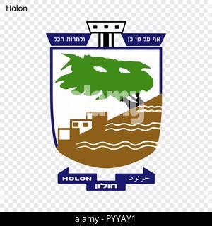 Emblem of Holon. City of Israel. Vector illustration - Stock Photo