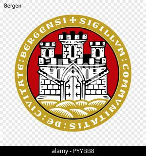 Emblem of Bergen. City of Norway. Vector illustration - Stock Photo