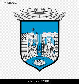 Emblem of Trondheim. City of Norway. Vector illustration - Stock Photo