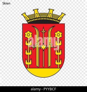Emblem of Skien. City of Norway. Vector illustration - Stock Photo
