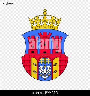 Emblem of Krakow. City of Poland. Vector illustration - Stock Photo