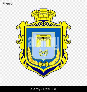 Emblem of Kherson. City of Ukraine. Vector illustration - Stock Photo