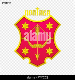 Emblem of Poltava. City of Ukraine. Vector illustration - Stock Photo