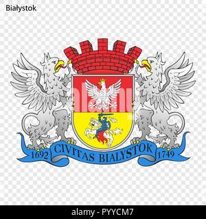 Emblem of Bialystok. City of Poland. Vector illustration - Stock Photo