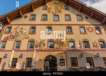 'Restaurant Mail' or 'Gasthof Post' with different motivs of wall painting, Mittenwald, Upper Bavaria, Bavaria, Germany, Europe, - Stock Photo